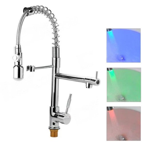 VDOMUS Modern LED Color Changing Single Handle Pull Down