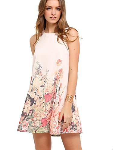 Floerns Women's Loose Floral Tank Dress Summer Sleeveless Dresses Beige S