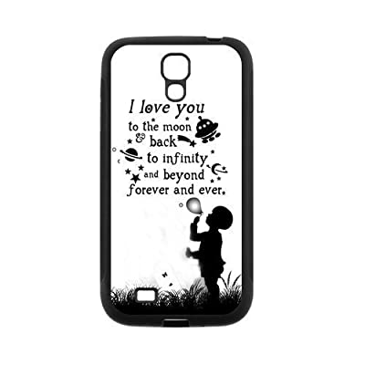 Love Quote I Love You To The Moon And Back Protective Rubber Back Fits Cover Case for SamSung Galaxy S4 by diycase shop