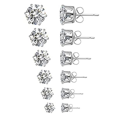Anmao Women's 12PCS White Round Clear Nickle Free Cubic Zirconia Stud Earrings (6 Pairs) STE-01