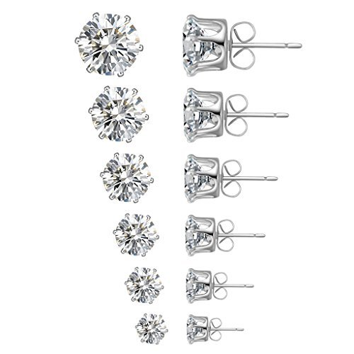 Anmao Women's 6 Pairs Nickle Free Cubic Zirconia Stud Earrings (Big Diamond Earrings compare prices)