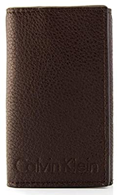 Calvin Klein Men's Leather Wallet Card Case Multi Key Rings Brown