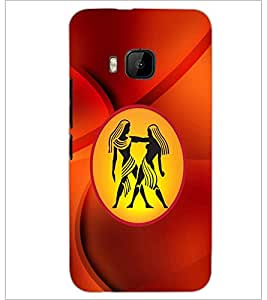 PrintDhaba Zodiac Gemini D-3371 Back Case Cover for HTC ONE M9S (Multi-Coloured)