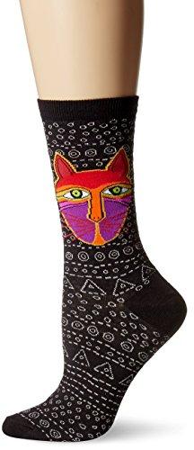 k-bell-calcetines-de-laurel-burch-bolso-original-cat-negro-acrilico-multicolor