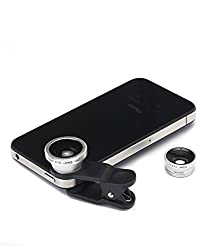 Finger's Universal 3 in1 Clip On Camera Lens Kit Wide Angle Fish Eye Macro Mobile Phone Lens (Silver)