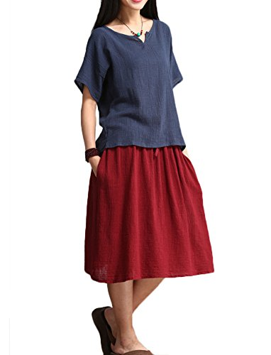 Erlking-Womens-Linen-Casual-Skirt-with-Adjustable-Waist-Strap