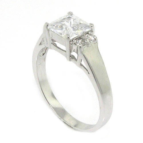Classic Sterling Silver Promise Ring w/Square Radiant White CZ, 9