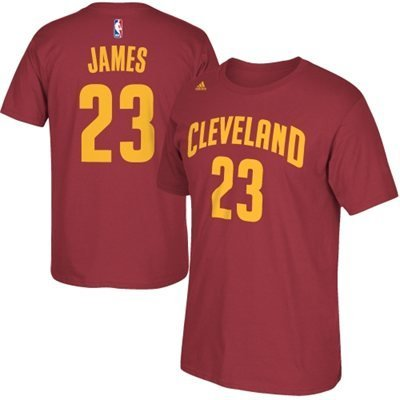 Lebron James Cleveland Cavaliers Garnet Jersey Name and Number T-shirt Medium