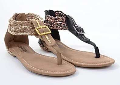Amazon.com: Faux Leather Braided Gladiator Buckle Detail Flat Sandals