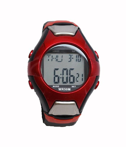 Cheap Pulse Rate Watch in Red and Silver with Heart Rate Monitor (B004S7SJ9U)