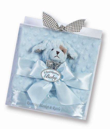 Bearington Baby Waggles Blue Chenille Stroller Blanket and Puppy Dog Rattle Set