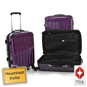 3er Kofferset Hartschale Trolley Aubergine-Hochglanz