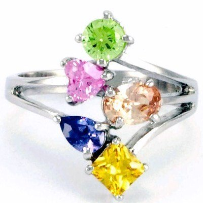 Sterling Silver Multi Color Cubic Zirconia CZ Ring (7)