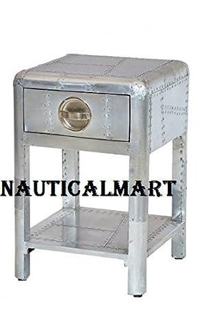Nauticalmart funda aluminio mesita de noche en el pecho con cajones Vintage muebles