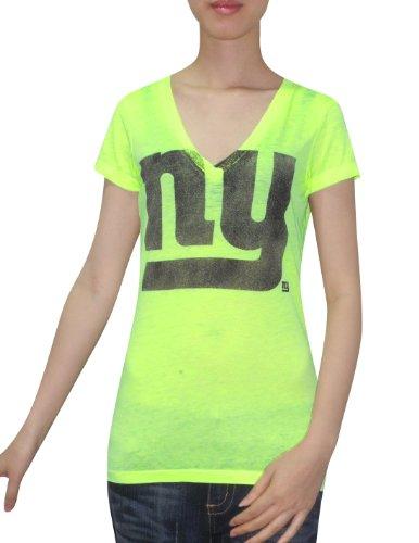 nfl-new-york-giants-womens-v-neck-t-shirt-vintage-look-xs-green-fluorescent