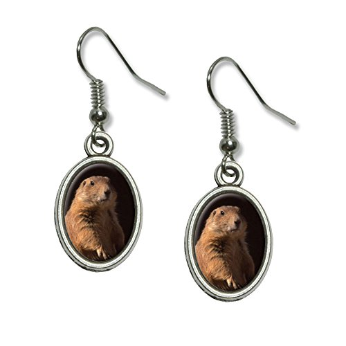 Prairie Dog Novelty Dangling Drop Oval Charm Earrings