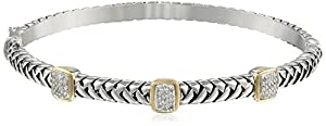S&G Sterling Silver and 14k Yellow Gold Diamond Three Station Bangle Bracelet (.18 cttw, I-J Color, I3 Clarity)