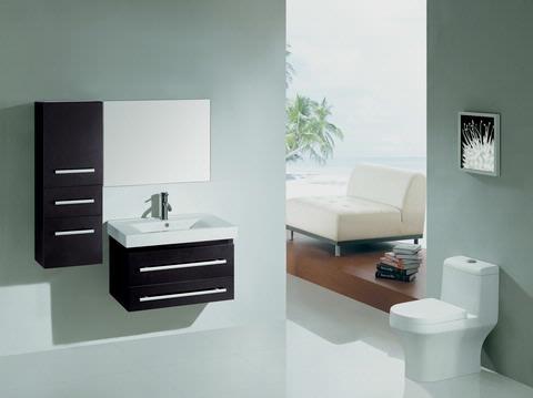 Virtu USA UM-3081E Antonio 29-Inch Wall-Mounted Single Sink Bathroom Vanity with Mirror, Ceramic Designer Basin, Espresso Finish