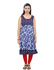 Cotton Womens Blue Polka Dot And Floral Frilled Long Kurta