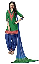 Justkartit Women's Unstitched Blue & Green Colour Embroidery Cotton With Rayon Exclusive Colourful Patiala Salwar Kameez / Punjabi Style Salwar Suit / Daily Wear Patiala's (Latest 2016 Diwali Collection)