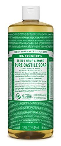 Dr. Bronner's Magic Soaps Pure-Castile Soap, 18-in-1 Hemp Almond, 32-Ounce Bottles (Pack of 2)