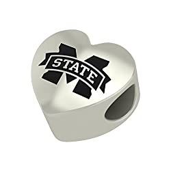 Mississippi State Bulldogs Heart Bead Fits Pandora Style Bracelets