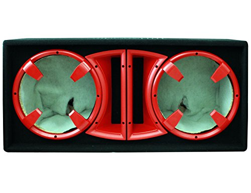 Absolute Usa Cdeb12Rd Dual 12-Inch Ported Enclosure Subwoofer Box (Red)