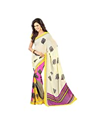 Admyrin Multi Colour Georgette Saree With Yellow Blouse Piece