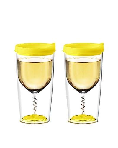 asobu Set of 2 Vino 2 Go with Corkscrew, Yellow