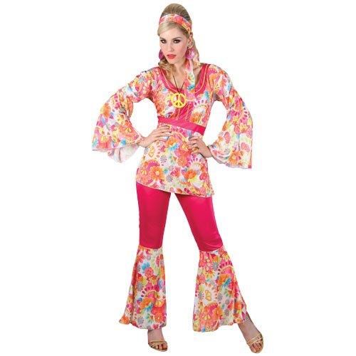 (XXL) Ladies Hippie Honey Costume for 60s Mods Rockers Hippy Fancy Dress Womens XXL