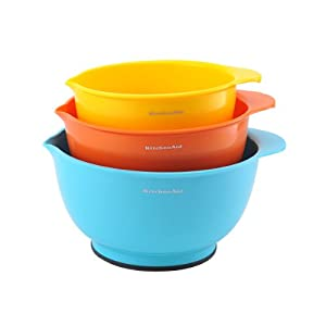 KitchenAid Classic Mixing Bowls, Assorted Colors, Set of 3 by KitchenAid