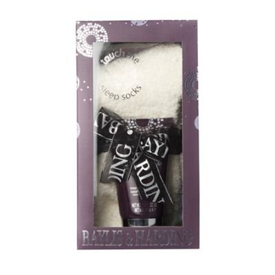 Purple and white foot balm and sock set