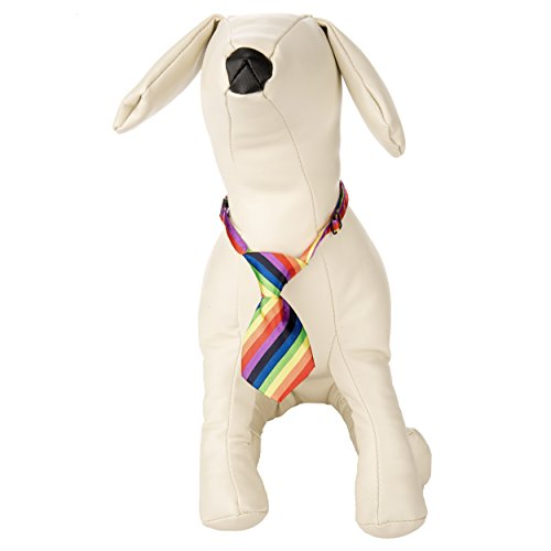 [CueCue Pet Adjustable Neck Tie, Small, Rainbow Stripe] (Business Suit Dog Costume)