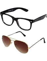 Sheomy Unisex Combo Pack Of Transparent Wayfarer Sunglasses And Golden Brown Aviator Sunglasses For Men And Women...