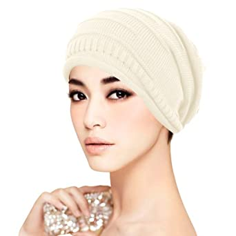 ISASSY Unisex Winter Plicate Baggy Beanie Knit Crochet Ski Hat Oversized Slouch Cap Simple Stylish Design 5 Colors Choices (Black, Red, Beige, Gray and Brown) (Beige)