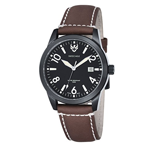 Swiss Eagle CADET 3 Hand Date Men's Genuine Leather Strap Watch - SE-9029-07