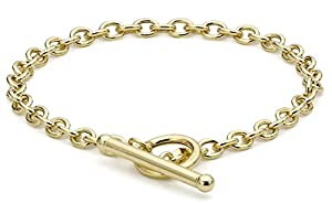 Carissima 9ct Yellow Gold Oval Belcher T-Bar Bracelet 18cm/7""