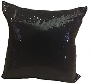 Black Sparkle Throw Pillow : Amazon.com - Decorative Sequins Throw Pillow 17x17 Black - Silver Sequin Pillow