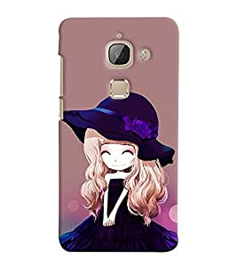 Printvisa Animated Girl With Puple Dress And Hat Back Case Cover for LeEco Le 2::LeTV Le 2