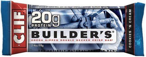 Clif Builder's Bar, Protein Bar, Cookies 'N Cream, 2.4-Ounce Bars (Pack of 12)