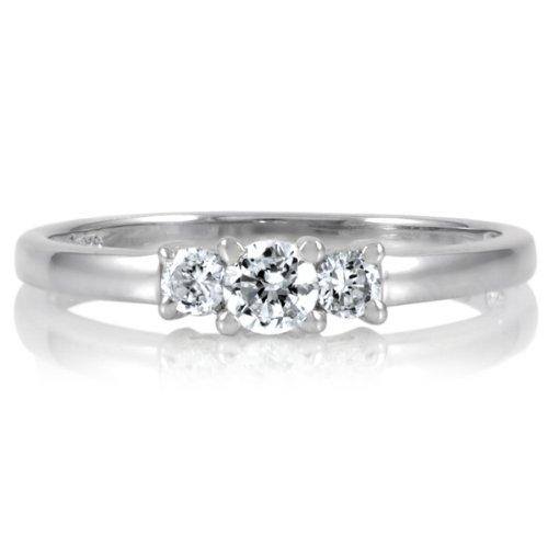 Min's Petite Faux Diamond 3 Stone Ring