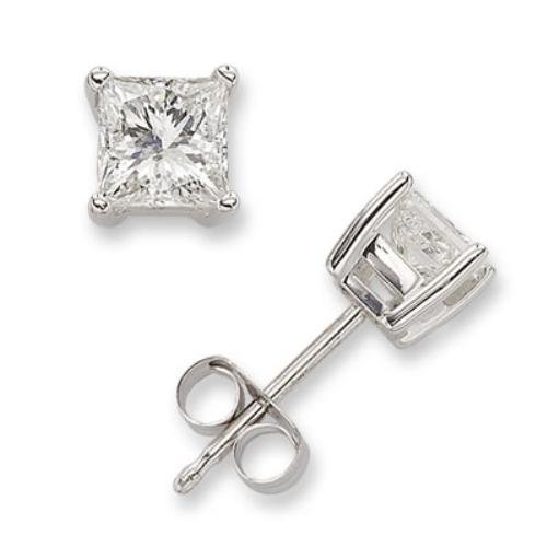 10Ct Square C.Z. Diamond Stud (.925) Silver Earrings Melanie Trump (Nice Holiday Gift, Special Black Firday Sale)