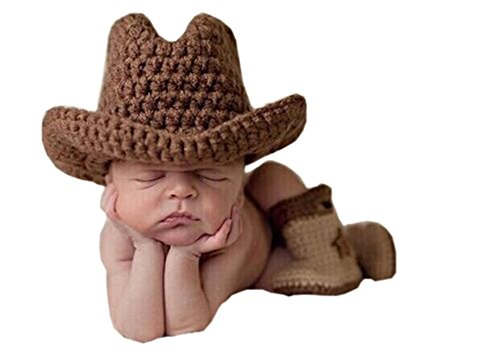 Pinbo® Baby Boys Photography Prop Crochet Knitted Cowboy Hat Boots
