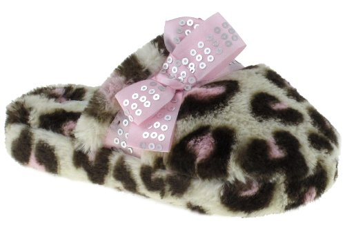 Cheap Capelli New York Leopard Printed Scuff With Sequins Trim Girls Indoor Slippers Pink Combo Large (B00937OISG)