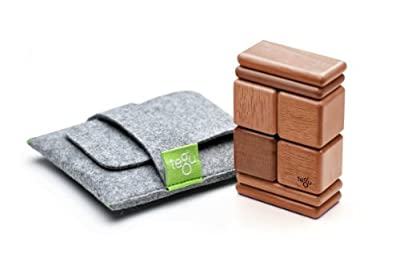 On Sale 8 Piece Magnetic Wooden Block Set Pocket Pouch - Mahogany By Tegu