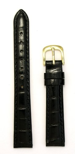 Ladies' Alligator Grain Leather Watchband, Color Black, Size 14mm, Watch Strap