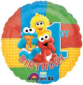 SESAME STREET Elmo Big Bird Cookie Monster #1 1st Birthday Party Mylar Balloon