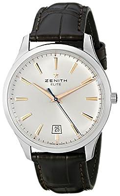 Zenith Men's 03.2020.670/01.c498 Elite Captain Central Second Silver Sunray Dial Watch