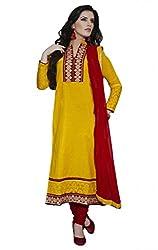 Nirali Women's Cotton Salwar Kameez Unstitched Dress Material - Free Size(Yellow)