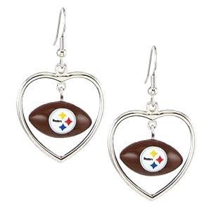 Pittsburgh Steelers - NFL Mini Football Heart Pendant Earrings